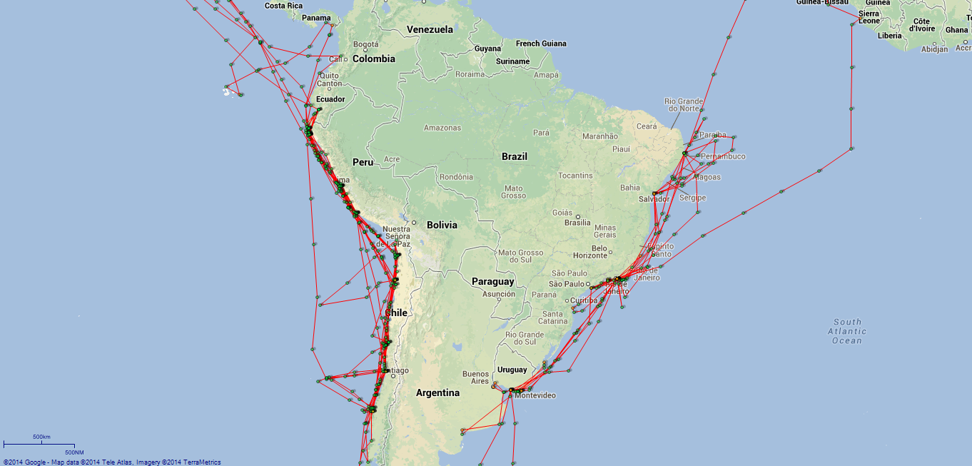JP map Newcastle South America