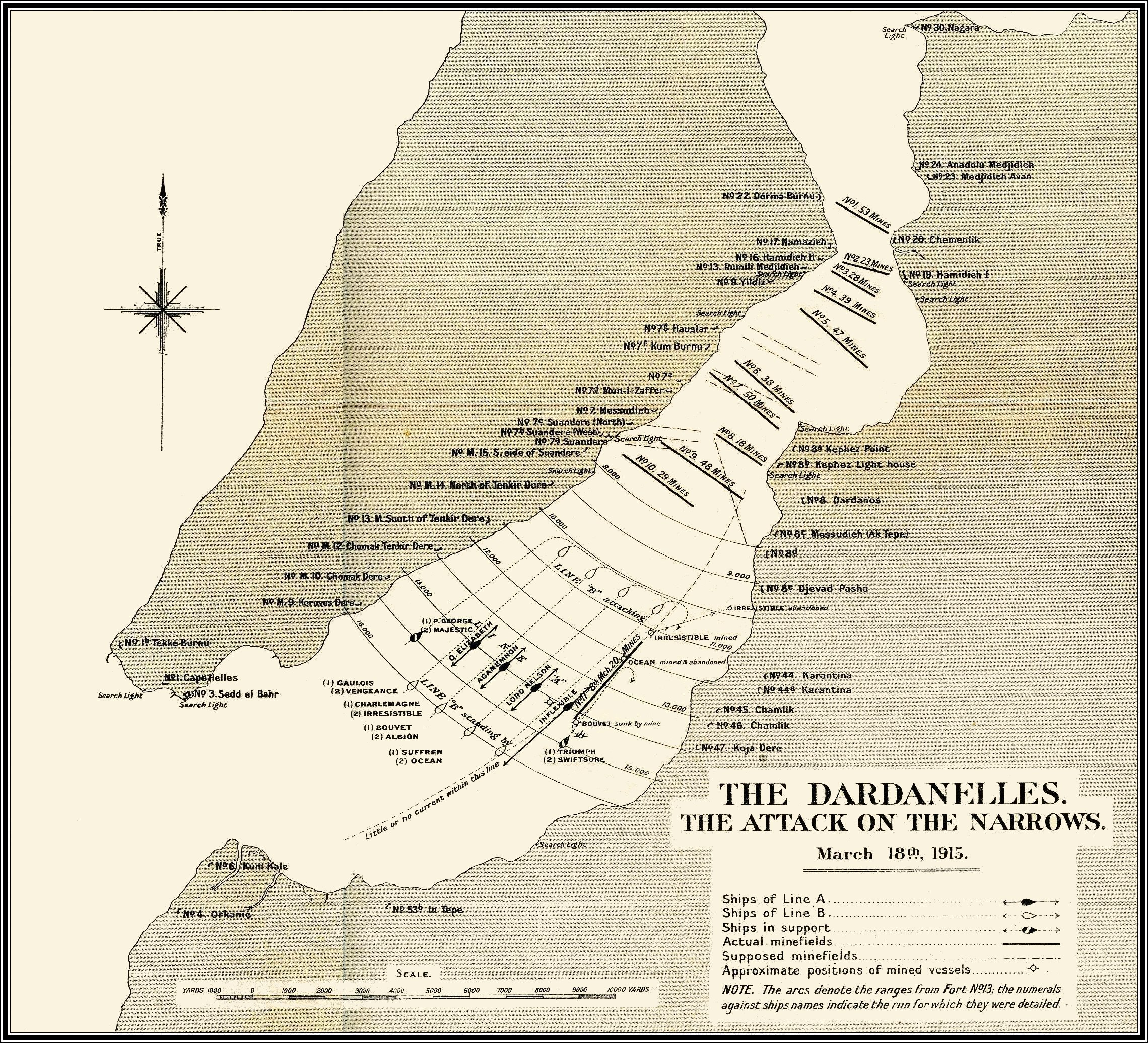Map of Dardanelles Attack