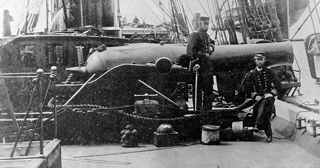 This picture shows the size of one of the Dahlgren guns aboard the Kearsarge (Naval History)