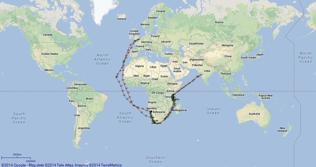 JP map overview HMS Kinfauns Castle armed