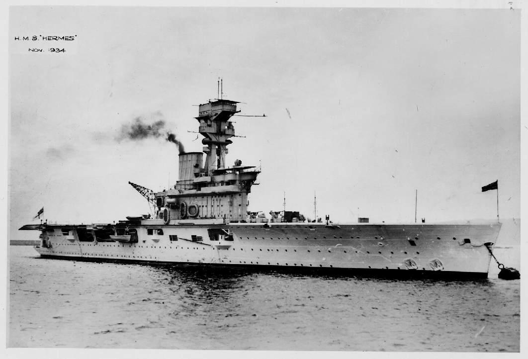 HMS Hermes, British aircraft carrier, WW2